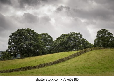 Authentic English landscape green and with limestone wall