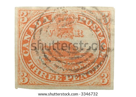 Authentic First Stamp Canada 1851 3 Stock Photo Edit Now 3346732