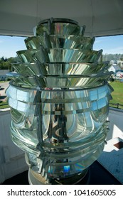 Authentic fourth order fresnel lens used at Pemequid Point lighthouse tower in Maine.