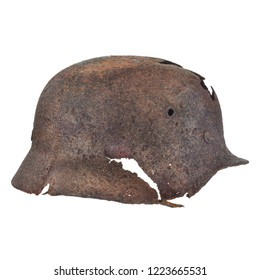 Authentic German Second World War helmet with bullet hole isolated on a white background