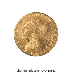 An authentic gold Indian Quarter Eagle coin minted 1925 in the  United States.  Designed by Boston sculptor Bela Lyon Pratt, it has an unusual incused design. The face value is $2.50.  Isolated.