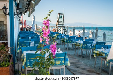Authentic Greek restaurant, by the sea, with greenery and blue details