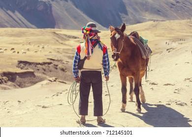 Authentic guide service in Vinicunca, Cusco Region, Peru. Montana de Siete Colores, Rainbow Mountain.