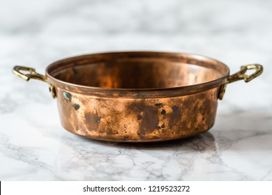 Authentic handmade Turkish copper pan with brass handles