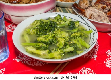 Authentic Homemade Chinese Food Closeup Boiled Broccoli Soup Bowl Holidays New Year Background