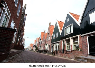 Authentic houses in Volendam, a traditional fishing village outside of Amsterdam that is hugely popular among tourists.