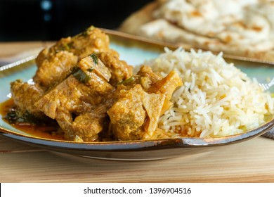 Authentic Indian goat korma curry with jasmine rice
