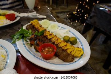 Authentic Iranian chicken and lamb kebab with safron
