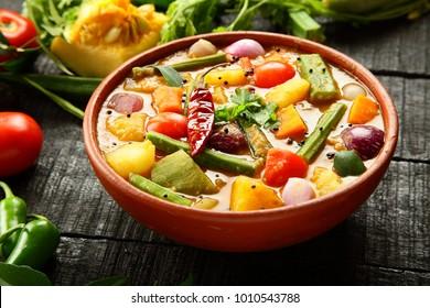 Authentic Kerala  vegetarian  recipe - sambar  dish.