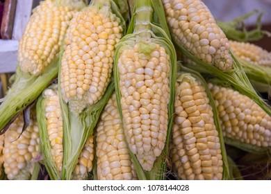 Authentic local corn on display in Ecuadorian vegetable market.