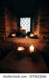 authentic medieval tavern. interior antique interior