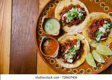Authentic mexican chorizo tacos