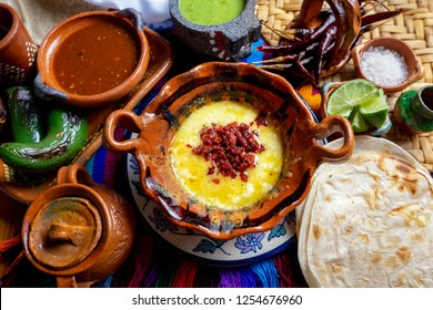 "Authentic mexican melted cheese ""fundido"" with red chorizo"
