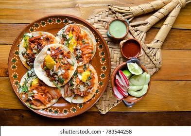Authentic mexican tacos al pastor
