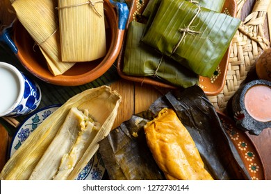 Authentic mexican tamal in banana and corn leaf