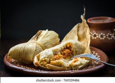 Authentic Mexican tamales filed corn dough dish
