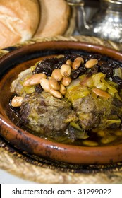 authentic moroccan lamb tagine with rasins almonds onions photographed in marrakesh Morocco