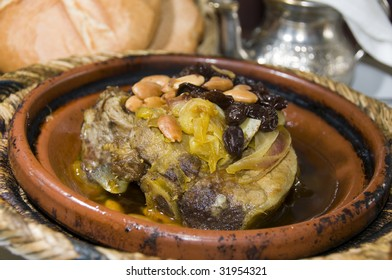 authentic moroccan lamb tagine with rasins almonds onions as photographed in marrakech morocco