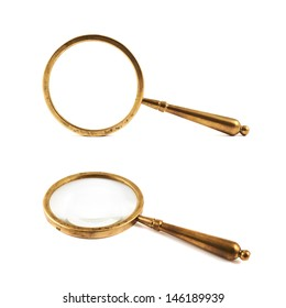Authentic old metal magnifying glass isolated over white background, set of two foreshortenings