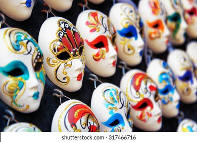 Authentic and original Venetian full-face masks for Carnival in street shop of Venice, Italy. Venice is a popular tourist destination of Europe.