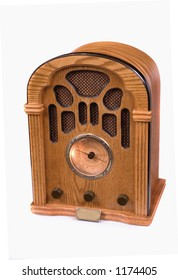 An authentic replica of a 1940 radio against white
