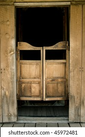 Authentic saloon doors in historic western ghost town, South Dakota