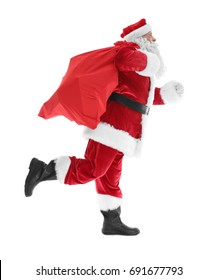 Authentic Santa Claus with big gift bag on white background