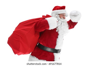 6cd4513799 Authentic Santa Claus with big gift bag on white background
