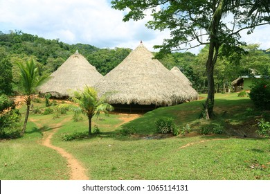An authentic thatched hut in the indigenous territory in Panama.