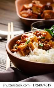 Authentique plat traditionnel chinois de mapo tofu avec ciboulette de porc riz vapeur et sauce de soja closeuse