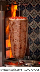 Authentic turkish doner kebab rolling outside of a restaurant on the streets of Istanbul, Turkey.