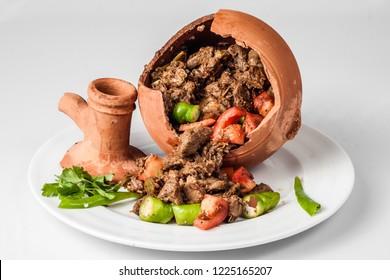 Authentic Turkish Testi Kebab cooked in earthenware waterjug