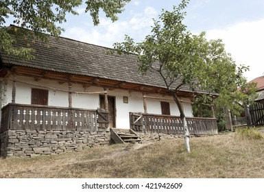 Authentic Ukrainian house countryside. Rural summer
