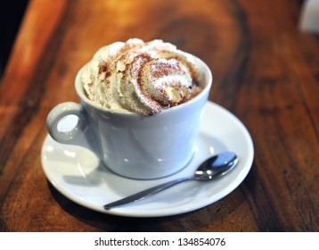 Authentic Viennese coffee with cream, chocolate and cinnamon