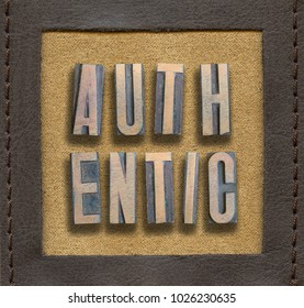 authentic word assembled from vintage wooden letterpress inside stitched leather frame