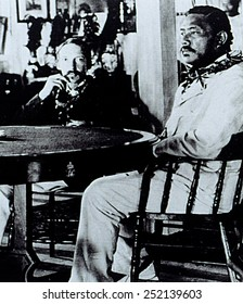 Author ROBERT LOUIS STEVENSON with DAVID KALAKAUA, last King of Hawaii, date unknown.