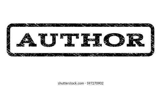Author watermark stamp. Text caption inside rounded rectangle with grunge design style. Rubber seal stamp with dirty texture. Raster black ink imprint on a white background.
