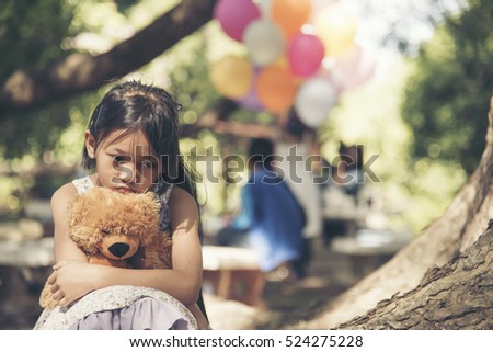 The Bears In Park Anxiety And Autism >> Autism Asian Child Sad Girl Feeling Stock Photo Edit Now 524275228