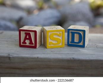 Autism Spectrum Disorder (ASD) horizontal blocks