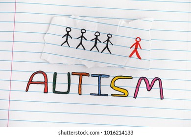 Autism. Autism spectrum disorder. Autism word on lined paper. Concept image. Close up.