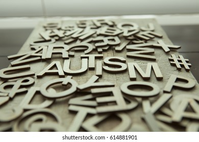 Autism spelled in a group of alphabet letters