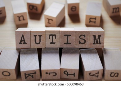 Autism Word In Wooden Cube