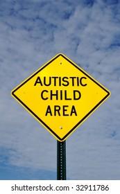 Autistic Child Area Sign, Sky, Clouds, Copy Space
