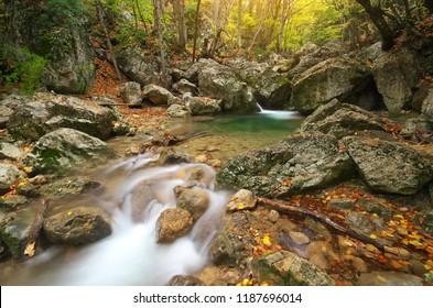 Autmn rill flow. Nature waterfall composition.