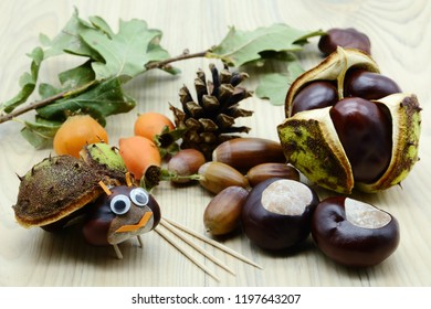 Autmn tinker with chestnut and acorn bug figures in autumn time. childhood tinker.
