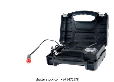 auto air compressor in a black box on a white background