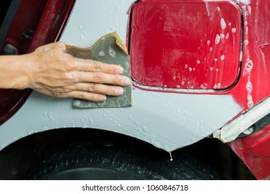 Auto body repair series: Wet sanding red car paint