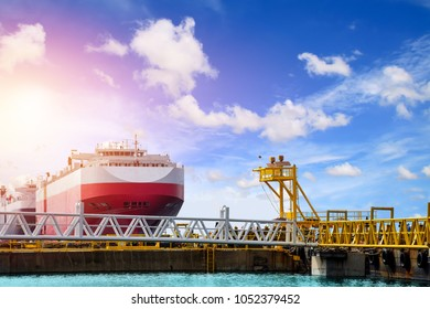Auto car carrier ship, designed for transportation of cars in port