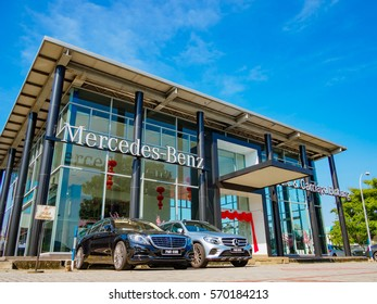 Auto City, Penang, Malaysia - January 29, 2017: Office of official dealer Mercedes-Benz. Mercedes-Benz is a global automobile manufacturer and a division of the German company Daimler AG.