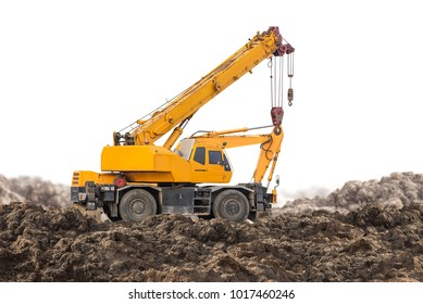 Auto crane for construction site equipment isolated on white background with clipping path